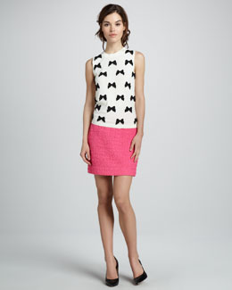 kate spade new york ruthie sleeveless bow sweater & robbie tweed miniskirt