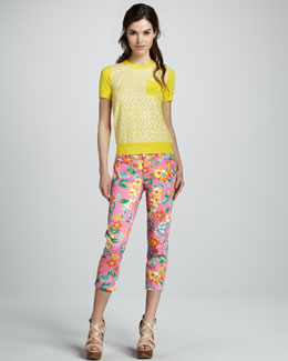 kate spade new york mercy laser-cut short-sleeve sweater & broome street floral capri jeans