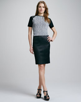 Theory Haylyn Leather-Sleeve Top & Brokelle Leather Pencil Skirt