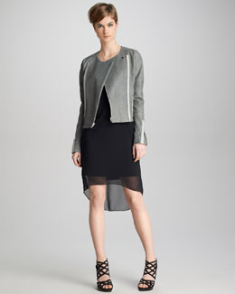 J Brand Ready to Wear Marie Textured Leather Jacket & Marisa Sheer-Overlay Dress
