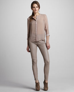J Brand Ready to Wear Juliette Sheer Chiffon Blouse & Claudette Slim Leather Pants