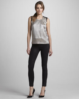 J Brand Ready to Wear Geena Metallic Snake-Print Top & Angela Coated Pants