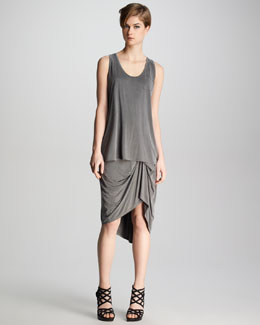 J Brand Ready to Wear Kidman Pocket Tank & Gathered Jersey Skirt