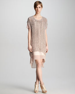 J Brand Ready to Wear Greta Loose-Weave Sweater & Marisa Sheer-Overlay Dress