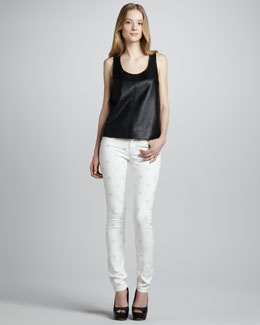 MARC by Marc Jacobs Jett Sleeveless Leather Top & Lou Polka Dot Skinny Jeans