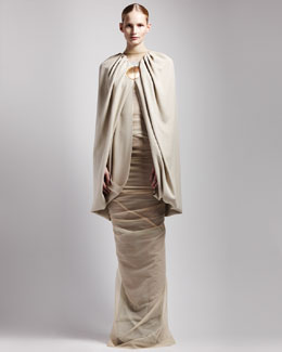 Rick Owens Bubble Cape, High-Neck Colorblock Bustier & Long Shrimp Skirt
