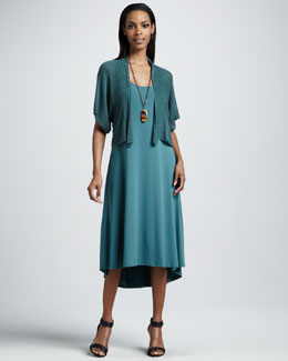 Eileen Fisher Cropped Kimono Cardigan & Calf-Length Dress