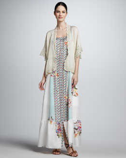Johnny Was Collection Floral-Print Silk Maxi Dress & Lace-Trim Jacket