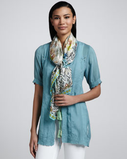 Johnny Was Collection Quintessa Kimono Cardigan & Bayhill Silk Print Scarf