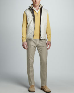 Loro Piana Windstorm Quilted Vest, Cotton-Silk Zip Sweater, Pique-Knit Polo & St. Malo Cotton-Linen Pants
