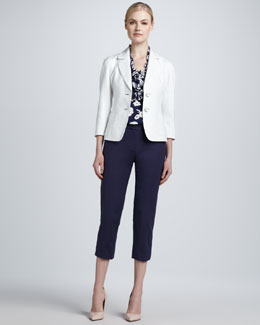 kate spade new york alix two-button jacket, lucille ruffle-neck blouse, & davis capri pant