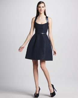 Monique Lhuillier Leather-Strap Sleeveless Cocktail Dress & Slim Leather Belt
