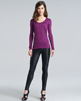 THE ROW Hazelton Long-Sleeve T-Shirt & Milter Seamed Leather Leggings