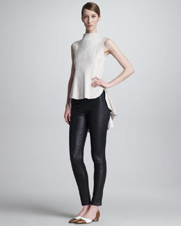 THE ROW Smalter Suede Sleeveless Top & Milter Seamed Leather Leggings
