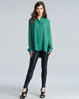 THE ROW Contrast-Collar Blouse & Milter Seamed Leather Leggings
