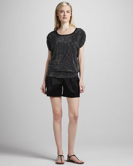 Grayse Mezzo Grid Mesh Top & Satin Twill Shorts