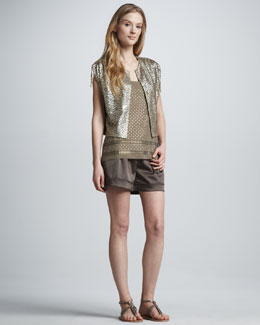 Grayse Laser-Cut Leather Jacket, Studded Tank & Satin Twill Shorts