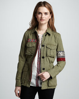 Sachin + Babi Denham Embroidered Cargo Jacket & Everett Off-The-Shoulder Blouse