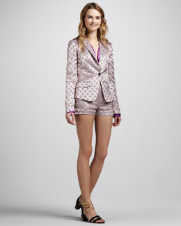Elizabeth and James Abigail Brocade Blazer, Mirta Satin Blouse & Tristan Brocade Shorts