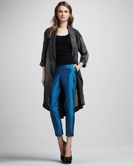 Elizabeth and James Evona Silk Trenchcoat & Anselm Taffeta Trousers