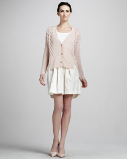 Elizabeth and James Boxy Knit Cardigan & Joan Full Silk Skirt