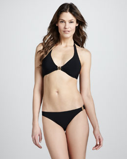 Tory Burch Warp-Knit Logo Halter Two-Piece Bikini Swimsuit