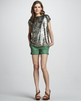 Rachel Zoe Ashlynn Printed Sequin Top & Justin Leather Shorts