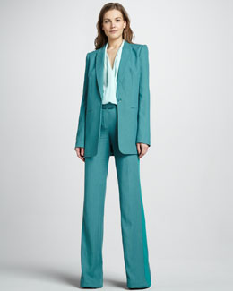 Rachel Zoe Chase Boyfriend Jacket, Clara High Low Surplice Top & Jett Wide-Leg Pants