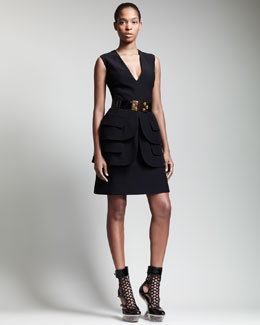 Alexander McQueen V-Neck Double-Peplum Dress & Bee-Buckle Belt
