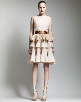Alexander McQueen Sleeveless Lace Peplum Top, Tiered Lace Skirt & Tortoise Shell Belt