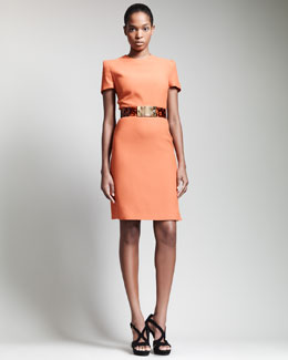Alexander McQueen Short-Sleeve Crepe Dress & Tortoise Shell Belt