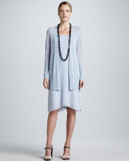 Eileen Fisher Crinkle Long Cardigan & Silk Georgette Dress