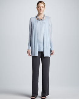 Eileen Fisher Crinkled Long Cardigan, Chiffon Tank & Silk Georgette Pants
