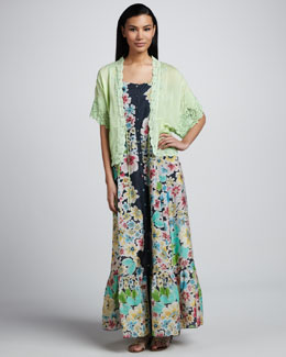 Johnny Was Collection Floral Button-Down Maxi Dress & Reed Dolman Jacket