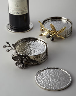 "Michael Aram ""Black Orchid"" & ""Olive Branch"" Coaster Sets"