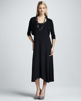 Eileen Fisher Sleeveless Jersey Dress & Crinkle Half-Sleeve Shrug