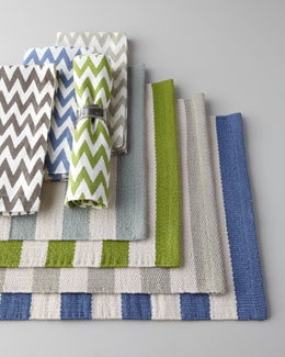 "Pine Cone Hill ""Trimaran"" Striped Placemats & Chevron Napkins"