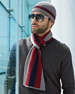 Gucci Crook Knit Hat & Scarf with Web Detail