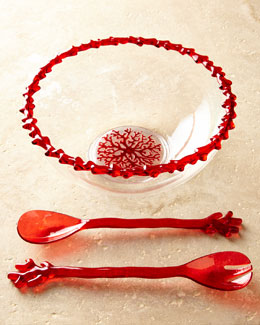 "Kim Seybert ""Coral Branch"" Acrylic Serving Bowl & Salad Servers"