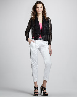 Milly Double Strap Camisole, Perforated Jacket & Tech Cropped Trousers