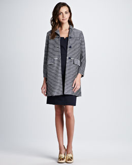 Tory Burch Elaina Raffia Striped Coat & Tayler Tab-Side Dress