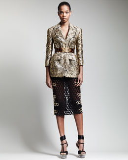 Alexander McQueen Trompe L'oeil Honeycomb Jacket, Leaf-Crepe Bustier & Long Honeycomb Pencil Skirt