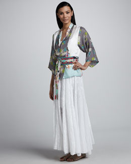 Johnny Was Collection Cropped Kimono Top, Vintage Party Dress & Lovely Vine Obi Belt