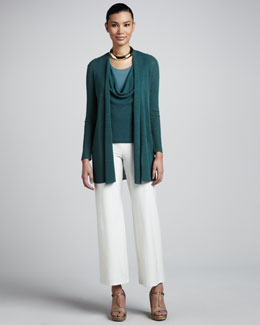 Eileen Fisher Polished Linen Cardigan, Ribbed Racerback Tank & Wide-Leg Pants