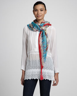 Johnny Was Collection Button-Placket Bib Tunic & Talasi Print Silk Georgette Scarf