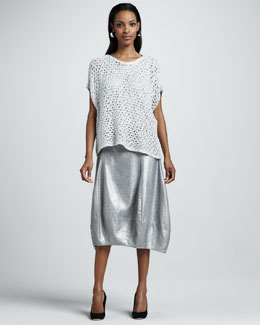 Eileen Fisher Sequined Chain-Mail Top, Sleeveless Shell & Glimmer Lantern Skirt