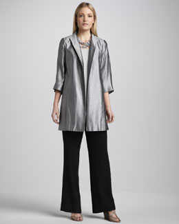 Eileen Fisher Jacquard Funnel-Neck Jacket, Silk Jersey Tank & Georgette Pants, Women's