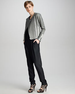 J Brand Ready to Wear Marie Textured Leather Jacket & Angelina Crepe Jumpsuit