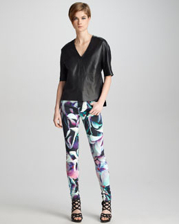 J Brand Ready to Wear Jane Leather Top & Printed Super Skinny Jeans
