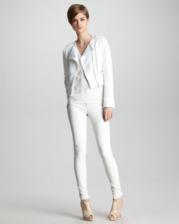 J Brand Ready to Wear Annette Tweed Biker Jacket, Salma Textured Crepe Tank & Claudette Slim Leather Pants